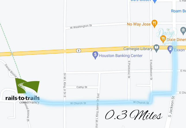 Map to Tanglefoot Trail from Daisy's